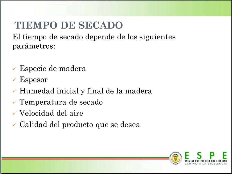 TIEMPO DE SECADO El tiempo de secado depende de los siguientes parámetros: Especie de madera Espesor Humedad inicial y final de la madera Temperatura