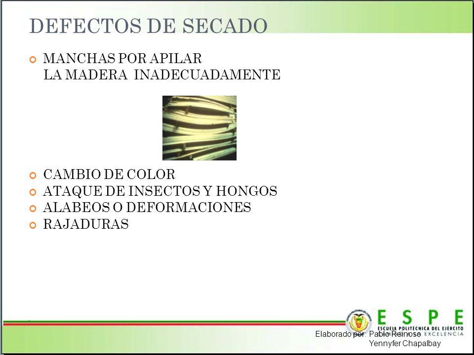 DEFECTOS DE SECADO MANCHAS POR APILAR LA MADERA INADECUADAMENTE CAMBIO DE COLOR ATAQUE DE INSECTOS Y HONGOS ALABEOS O DEFORMACIONES RAJADURAS. Elabora