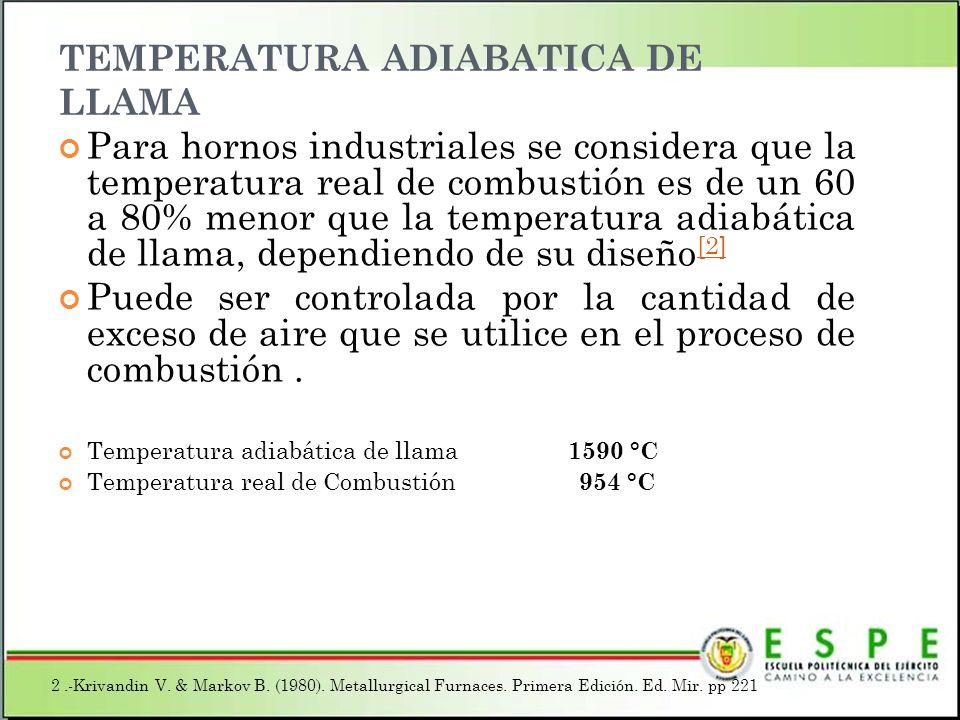 TEMPERATURA ADIABATICA DE LLAMA Para hornos industriales se considera que la temperatura real de combustión es de un 60 a 80% menor que la temperatura