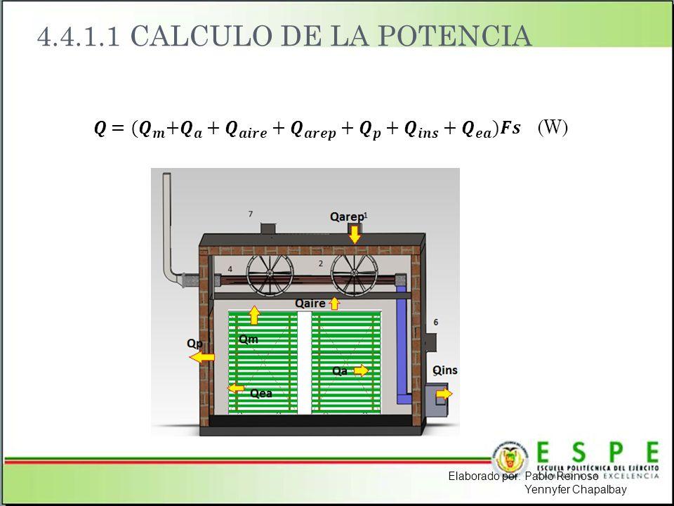4.4.1.1 CALCULO DE LA POTENCIA Elaborado por: Pablo Reinoso Yennyfer Chapalbay