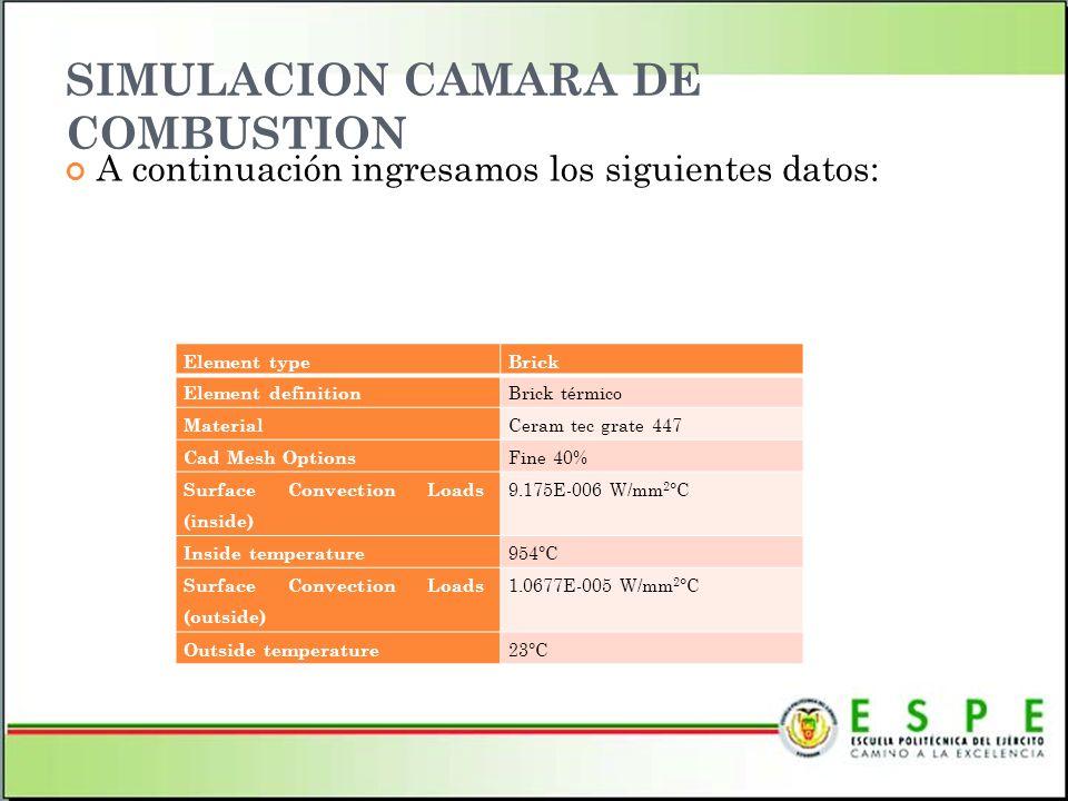 SIMULACION CAMARA DE COMBUSTION A continuación ingresamos los siguientes datos: Element typeBrick Element definition Brick térmico Material Ceram tec