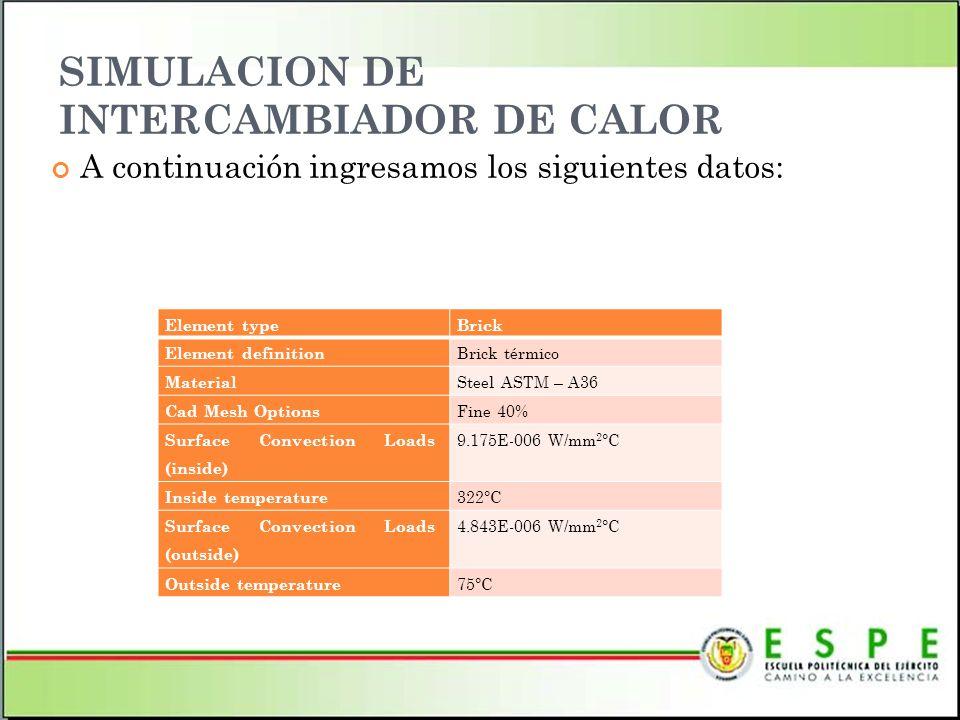 SIMULACION DE INTERCAMBIADOR DE CALOR A continuación ingresamos los siguientes datos: Element typeBrick Element definition Brick térmico Material Stee