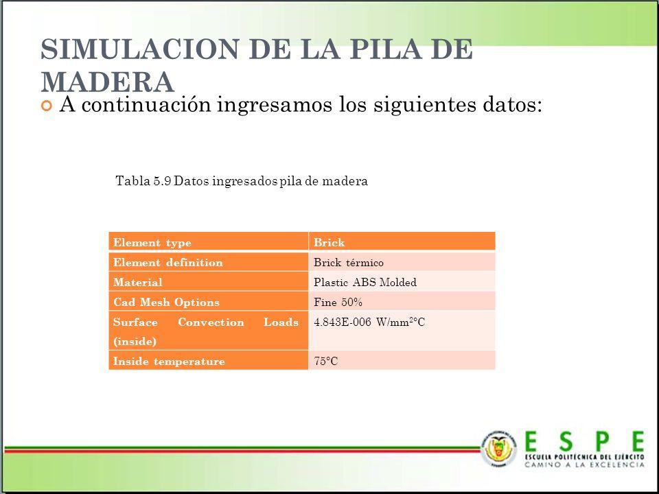SIMULACION DE LA PILA DE MADERA A continuación ingresamos los siguientes datos: Tabla 5.9 Datos ingresados pila de madera Element typeBrick Element de