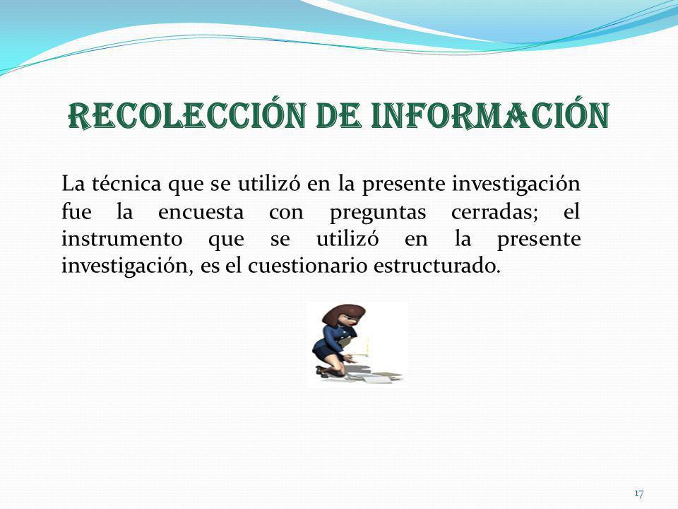 RECOLECCIÓN DE INFORMACIÓN La técnica que se utilizó en la presente investigación fue la encuesta con preguntas cerradas; el instrumento que se utiliz