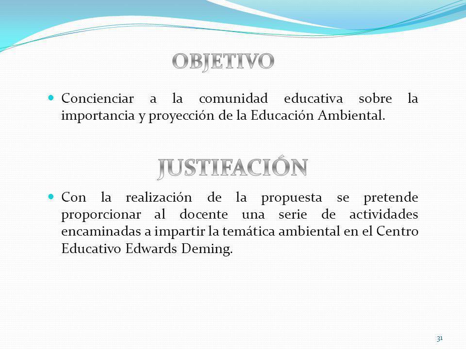 31 Concienciar a la comunidad educativa sobre la importancia y proyección de la Educación Ambiental. Con la realización de la propuesta se pretende pr