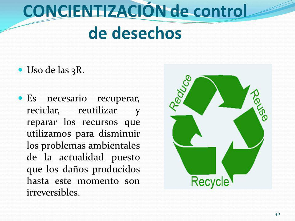 ACTIVIDADES DE CONCIENTIZACIÓN de control de desechos Uso de las 3R. Es necesario recuperar, reciclar, reutilizar y reparar los recursos que utilizamo