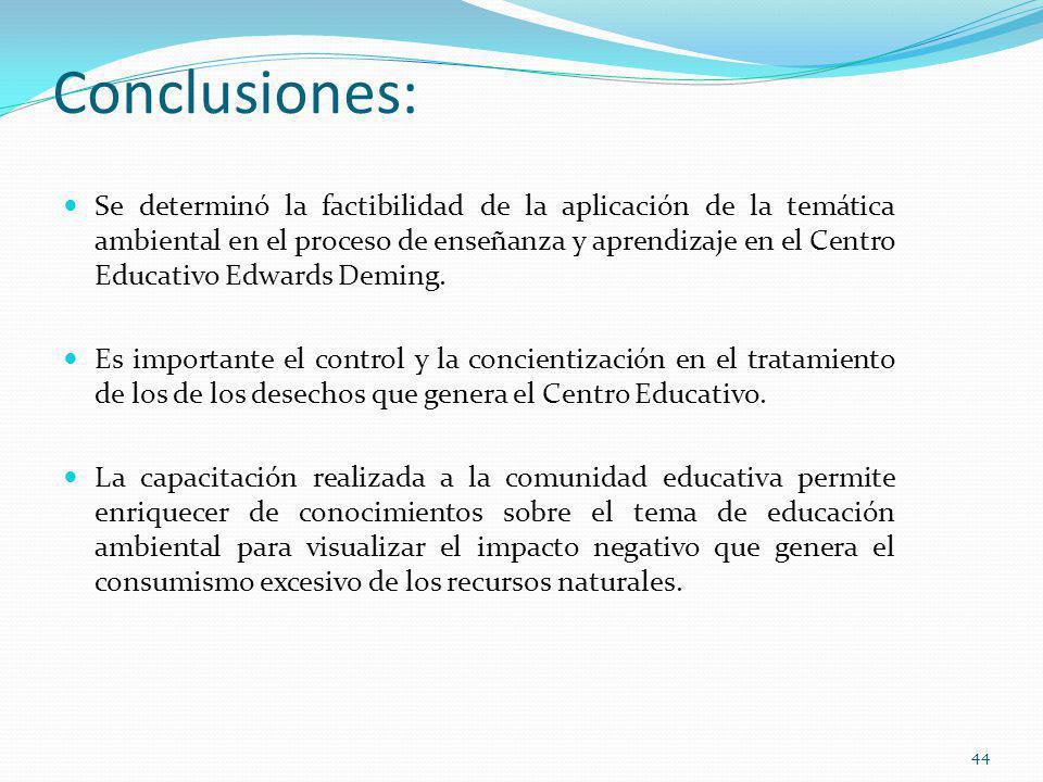 Conclusiones: Se determinó la factibilidad de la aplicación de la temática ambiental en el proceso de enseñanza y aprendizaje en el Centro Educativo E