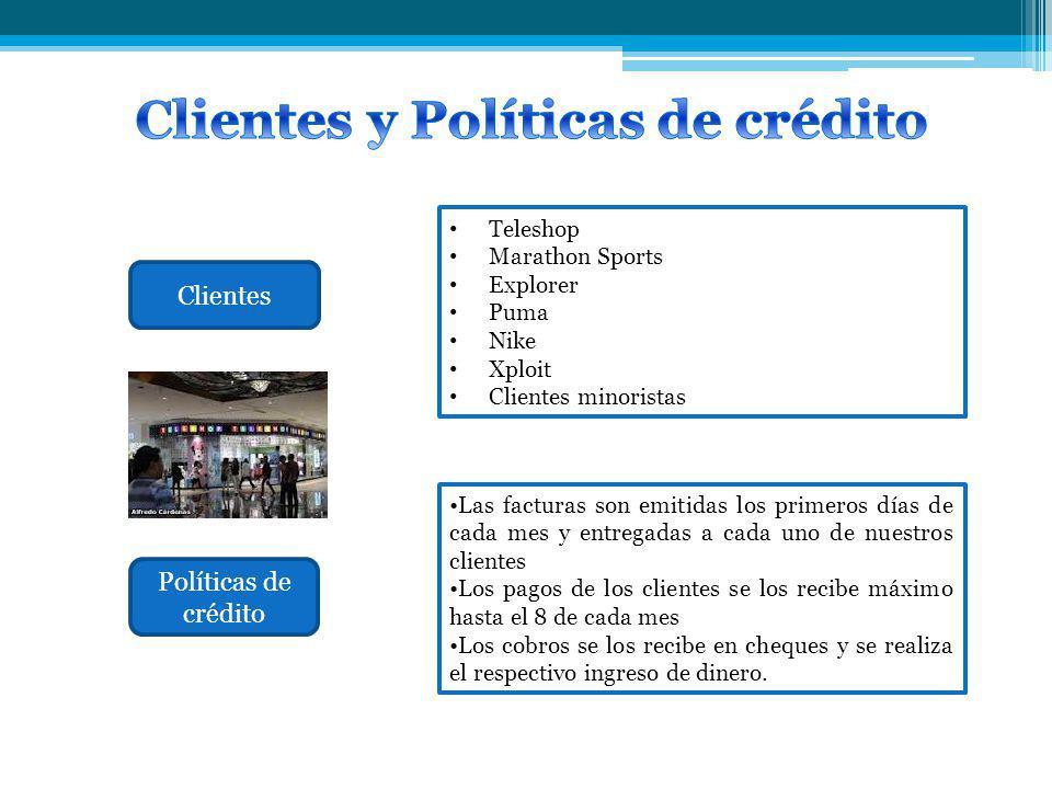 Clientes Políticas de crédito Teleshop Marathon Sports Explorer Puma Nike Xploit Clientes minoristas Las facturas son emitidas los primeros días de ca
