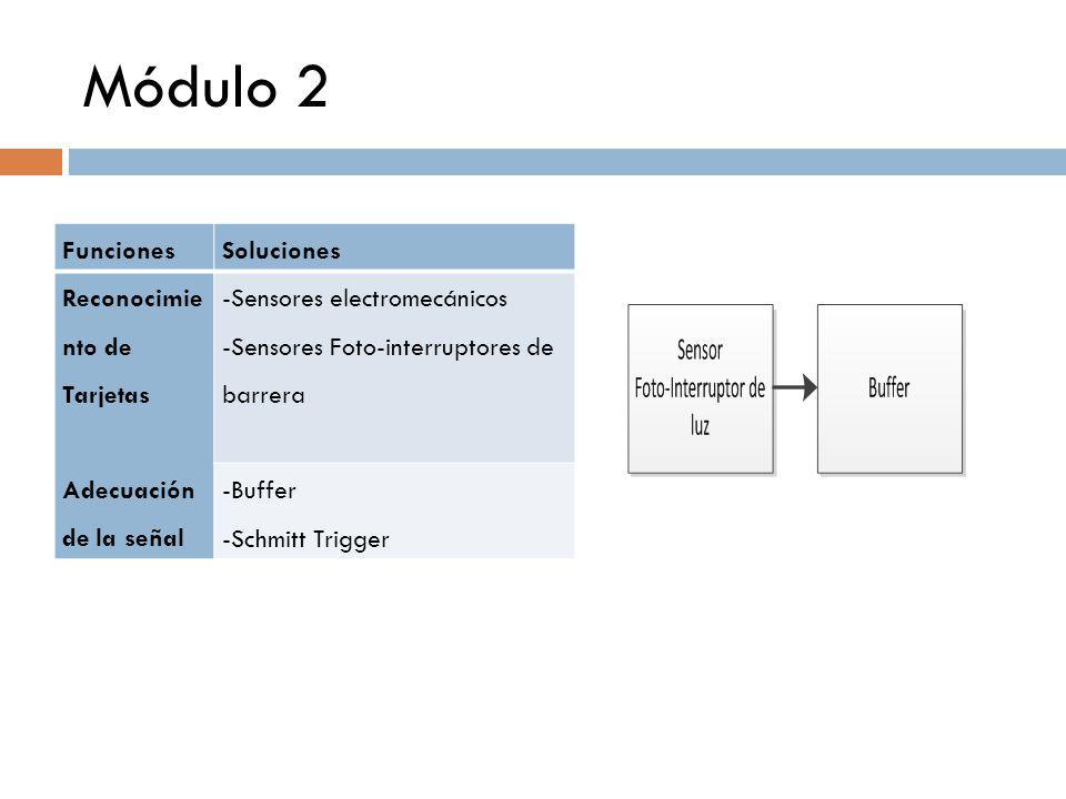 Módulo 2 FuncionesSoluciones Reconocimie nto de Tarjetas Adecuación de la señal -Sensores electromecánicos -Sensores Foto-interruptores de barrera -Bu
