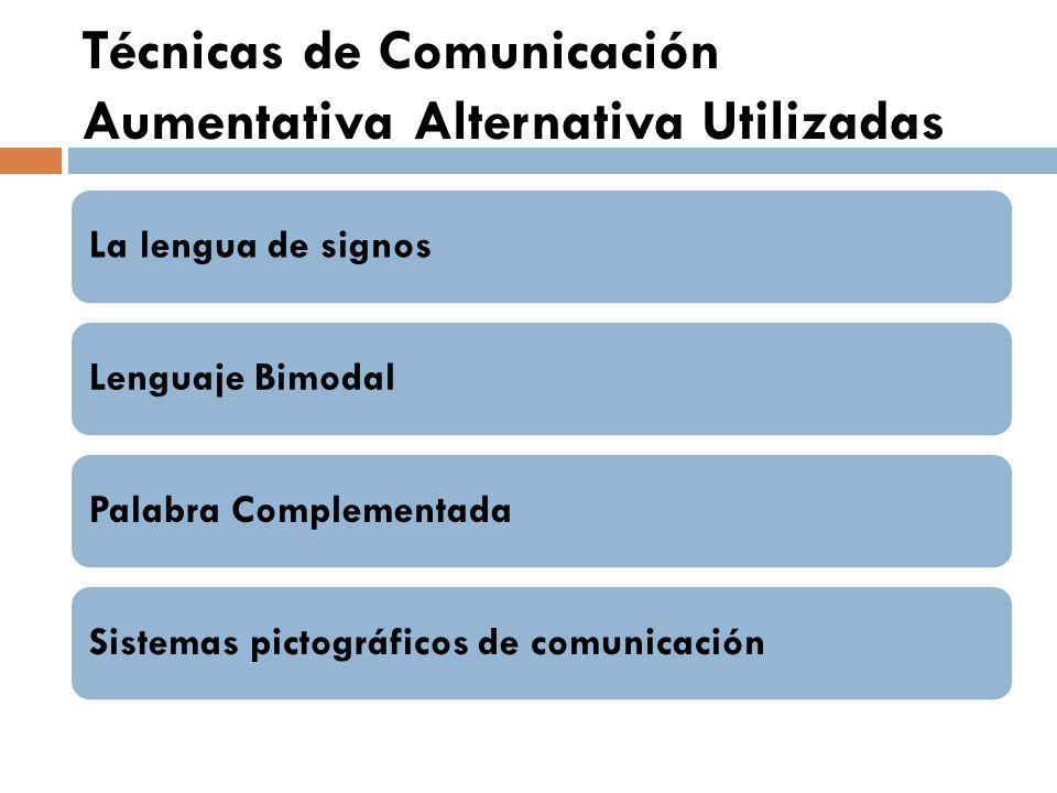 Técnicas de Comunicación Aumentativa Alternativa Utilizadas La lengua de signosLenguaje BimodalPalabra ComplementadaSistemas pictográficos de comunica