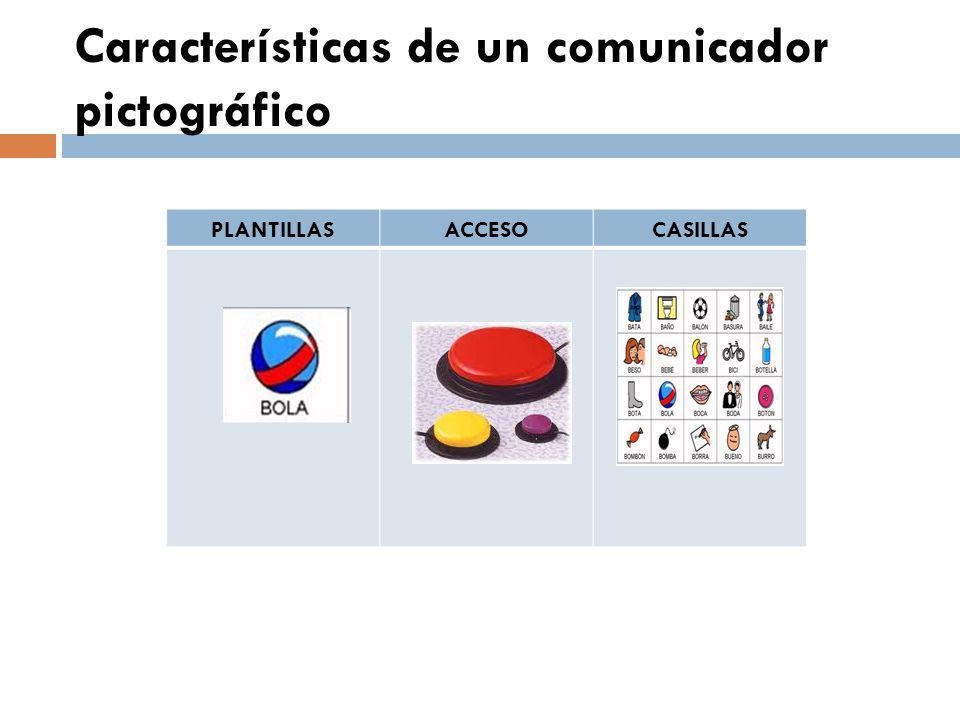 Características de un comunicador pictográfico PLANTILLASACCESOCASILLAS
