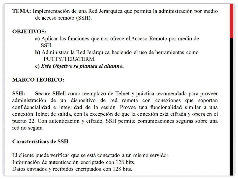 TEMA: Implementación de una Red Jerárquica que permita la administración por medio de acceso remoto (SSH). OBJETIVOS: a) Aplicar las funciones que nos