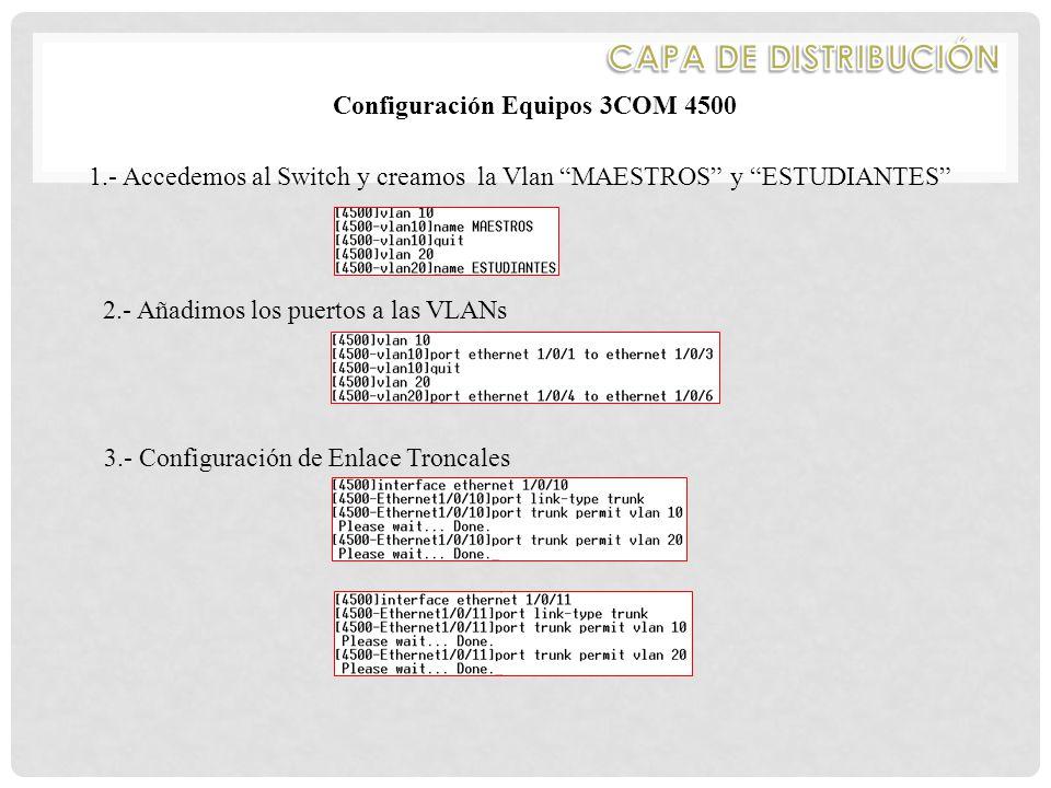 Configuración Equipos 3COM 4500 1.- Accedemos al Switch y creamos la Vlan MAESTROS y ESTUDIANTES 2.- Añadimos los puertos a las VLANs 3.- Configuración de Enlace Troncales
