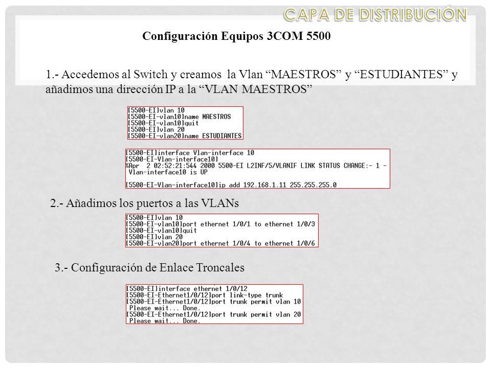 Configuración Equipos 3COM 5500 1.- Accedemos al Switch y creamos la Vlan MAESTROS y ESTUDIANTES y añadimos una dirección IP a la VLAN MAESTROS 2.- Añadimos los puertos a las VLANs 3.- Configuración de Enlace Troncales