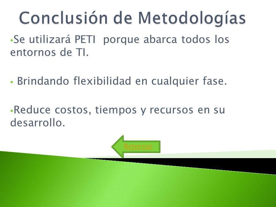 Se utilizará PETI porque abarca todos los entornos de TI. Brindando flexibilidad en cualquier fase. Reduce costos, tiempos y recursos en su desarrollo