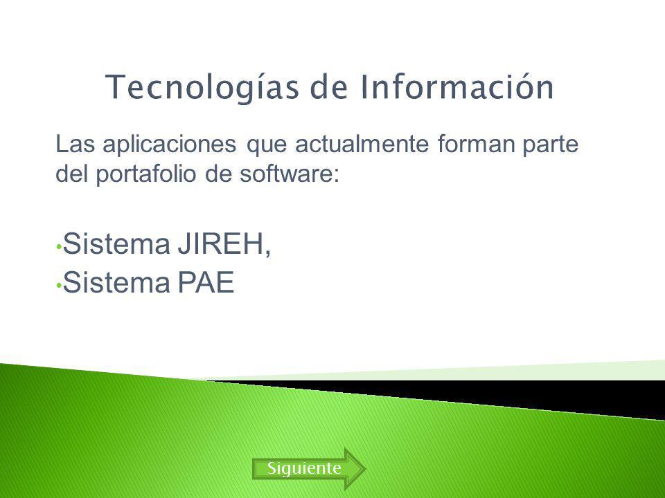 Las aplicaciones que actualmente forman parte del portafolio de software: Sistema JIREH, Sistema PAE Siguiente