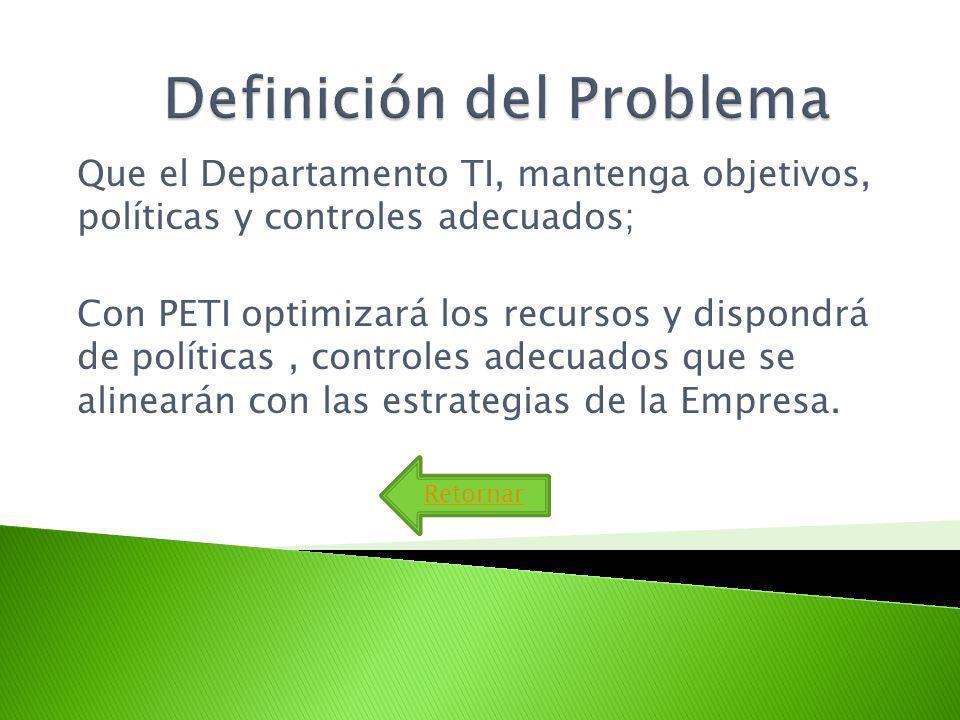 Que el Departamento TI, mantenga objetivos, políticas y controles adecuados; Con PETI optimizará los recursos y dispondrá de políticas, controles adecuados que se alinearán con las estrategias de la Empresa.