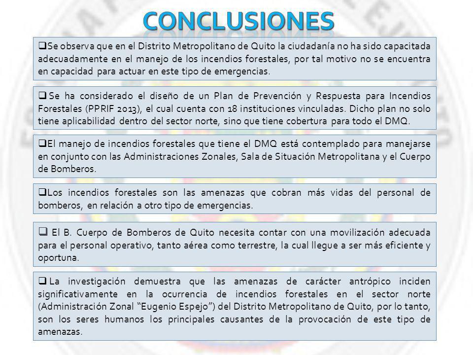 Se observa que en el Distrito Metropolitano de Quito la ciudadanía no ha sido capacitada adecuadamente en el manejo de los incendios forestales, por tal motivo no se encuentra en capacidad para actuar en este tipo de emergencias.