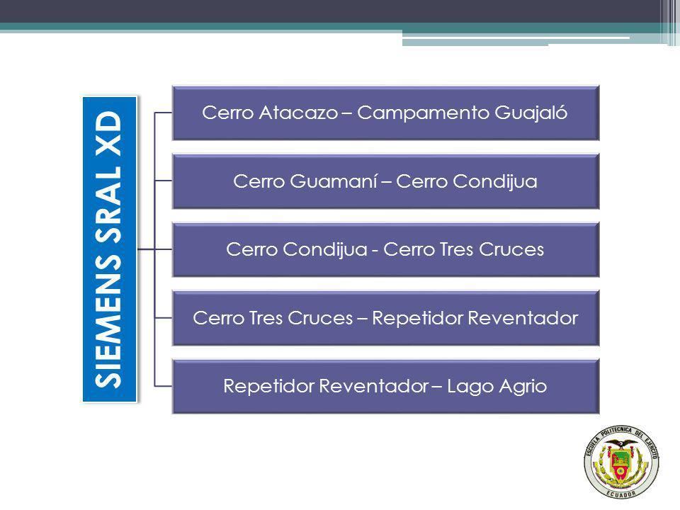 SIEMENS SRAL XD Cerro Atacazo – Campamento Guajaló Cerro Guamaní – Cerro Condijua Cerro Condijua - Cerro Tres Cruces Cerro Tres Cruces – Repetidor Rev