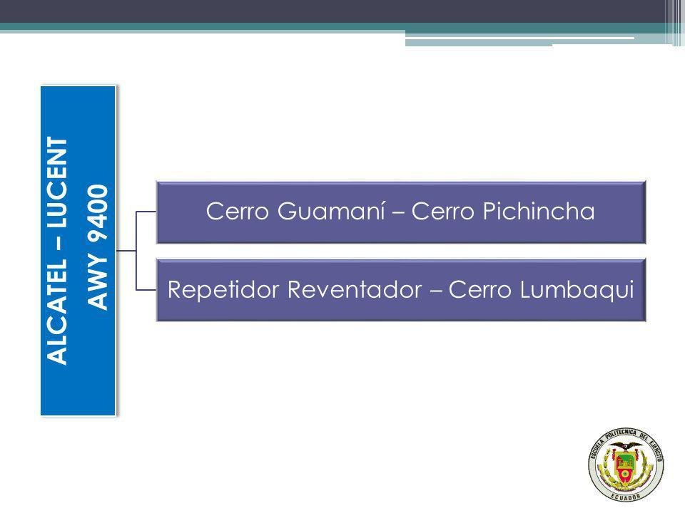 ALCATEL – LUCENT AWY 9400 Cerro Guamaní – Cerro Pichincha Repetidor Reventador – Cerro Lumbaqui