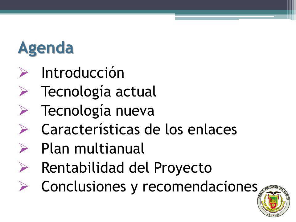 Agenda Introducción Introducción Tecnología actual Tecnología nueva Características de los enlaces Plan multianual Rentabilidad del Proyecto Conclusiones y recomendaciones