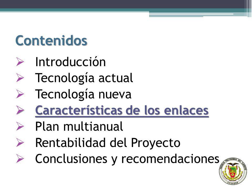 Contenidos Introducción Tecnología actual Tecnología nueva Características de los enlaces Características de los enlaces Plan multianual Rentabilidad