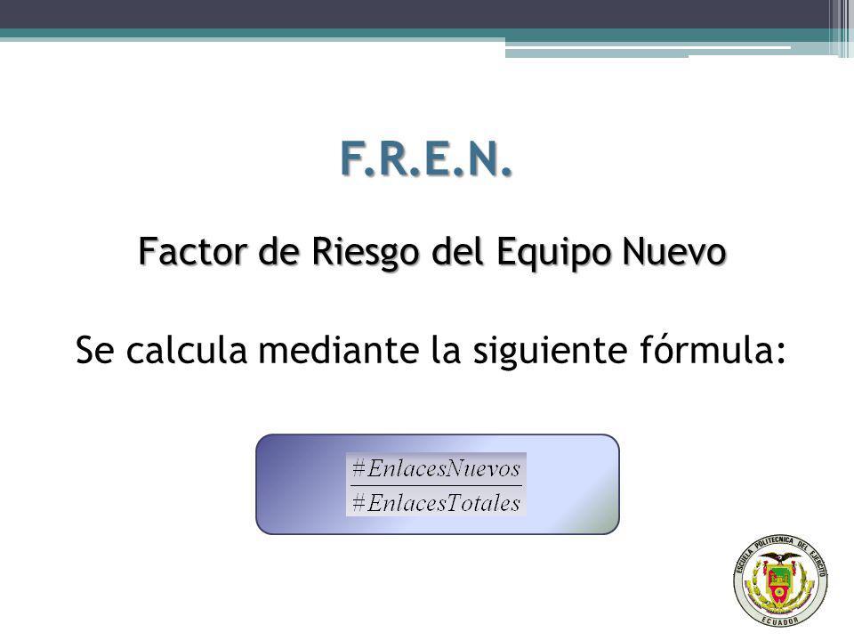 F.R.E.N. Factor de Riesgo del Equipo Nuevo Se calcula mediante la siguiente fórmula: