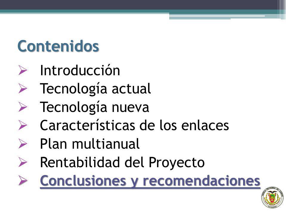Contenidos Introducción Tecnología actual Tecnología nueva Características de los enlaces Plan multianual Rentabilidad del Proyecto Conclusiones y rec