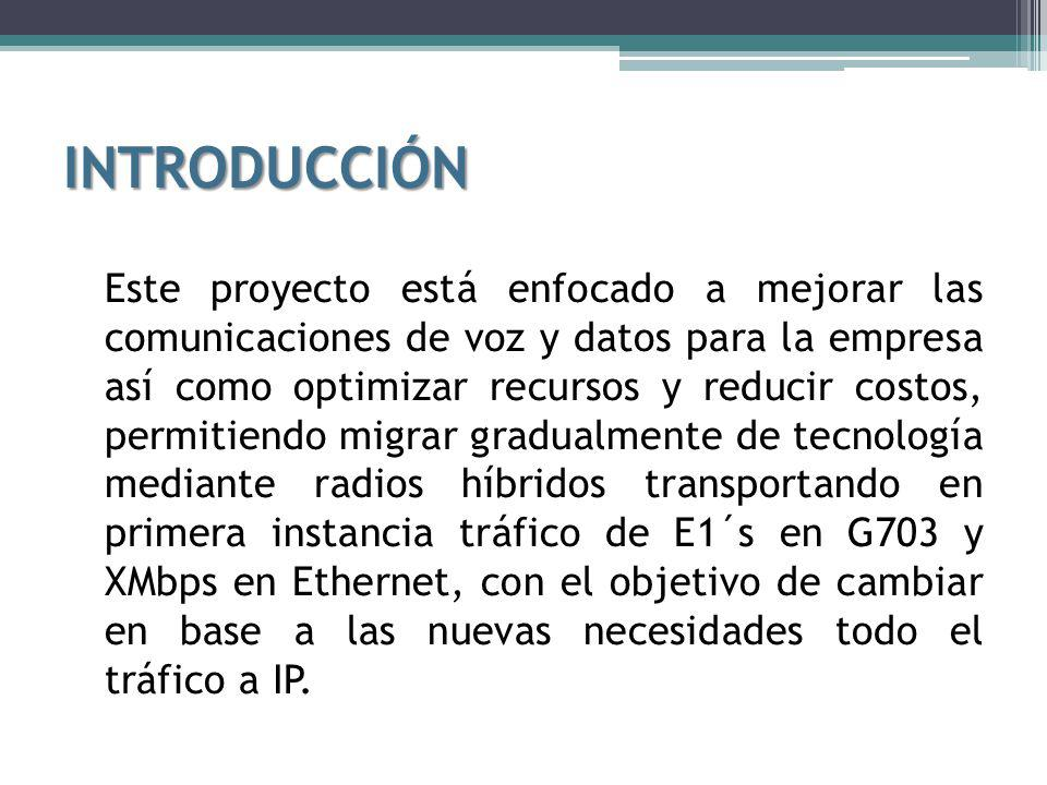 CARACTERÍSTICAS DE LAS ANTENAS BALAO TANQUE 1REPETIDOR ATACAZO MODELO:HP10-59W RANGO DE FRECUENCIAS (GHz):5.925 – 7.125 GANANCIAS (dBi):43.2 CARACTERÍSTICAS DE OPERACIÓN ACTUALPROPUESTO CAPACIDAD DEL ENLACE:16 E1(16 E1), (103 – 148 Mbps) ANCHO DE BANDA (MHz):29.65028 FRECUENCIA DE OPERACIÓN:6.3156.063 TIPO DE MODULACIÓN:QPSK32 QAM MODO DE OPERACIÓN:FULLDUPLEX CARACTERÍSTICAS TÉCNICAS POTENCIA MEDIA RECIBIDA:-47.59 dBm.