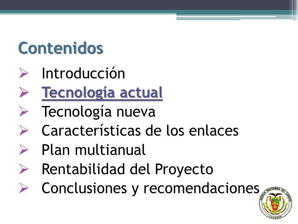 Contenidos Introducción Tecnología actual Tecnología nueva Características de los enlaces Plan multianual Rentabilidad del Proyecto Conclusiones y recomendaciones Conclusiones y recomendaciones