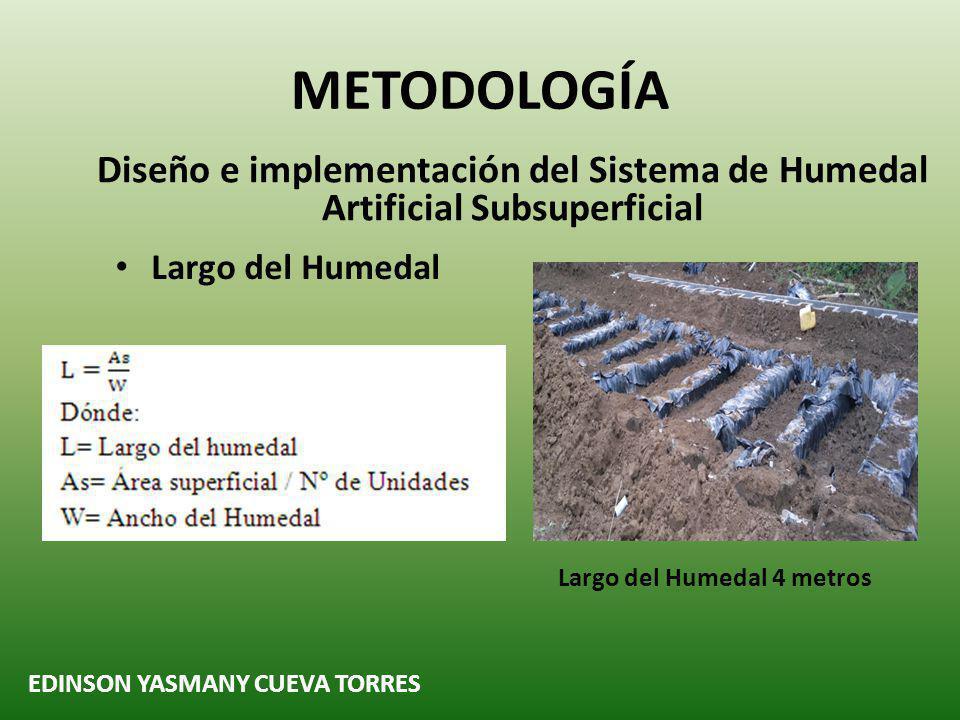 METODOLOGÍA Diseño e implementación del Sistema de Humedal Artificial Subsuperficial EDINSON YASMANY CUEVA TORRES Largo del Humedal 4 metros Largo del Humedal