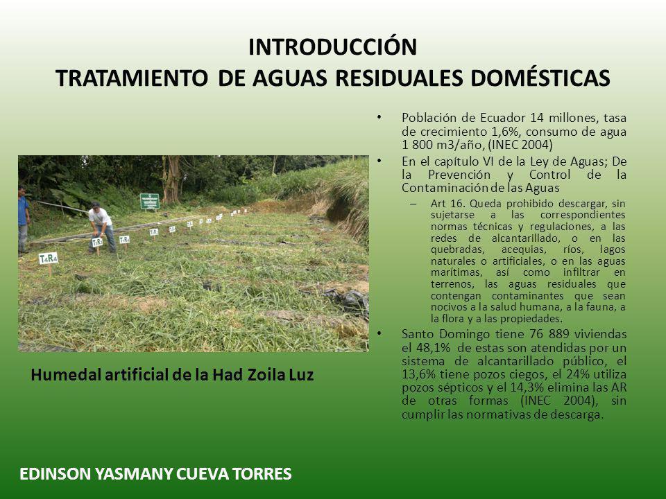 INTRODUCCIÓN TRATAMIENTO DE AGUAS RESIDUALES DOMÉSTICAS Población de Ecuador 14 millones, tasa de crecimiento 1,6%, consumo de agua 1 800 m3/año, (INEC 2004) En el capítulo VI de la Ley de Aguas; De la Prevención y Control de la Contaminación de las Aguas – Art 16.