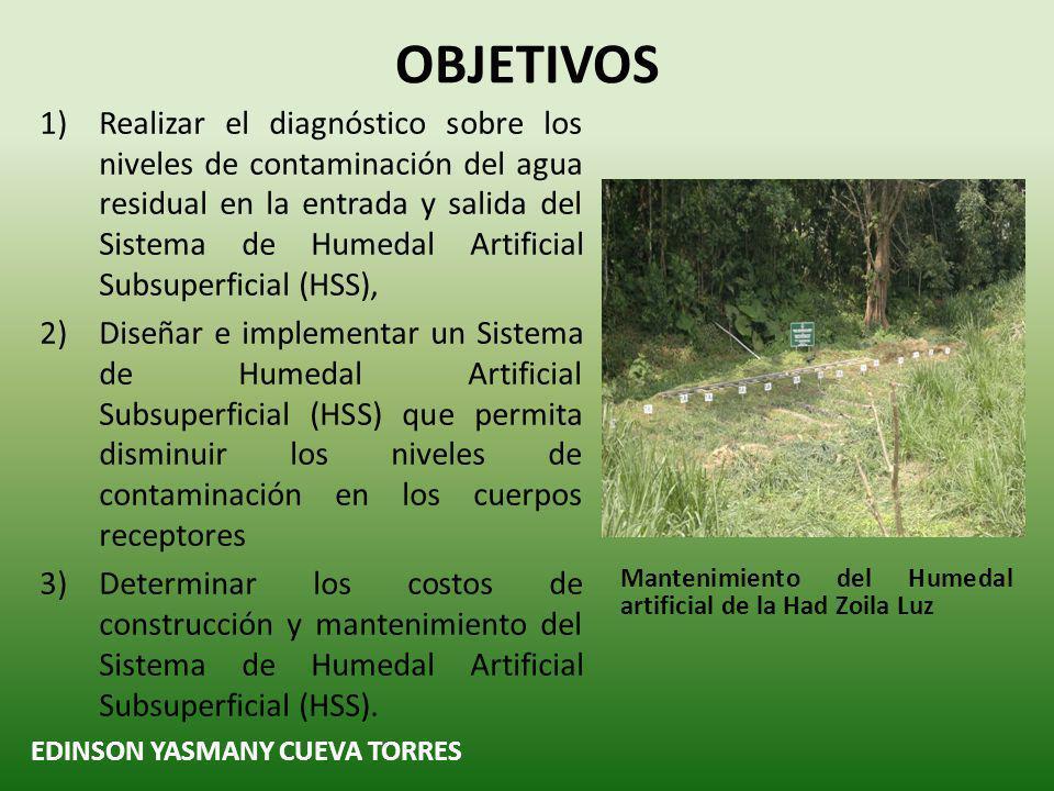 EDINSON YASMANY CUEVA TORRES RECOMENDACIONES Continuar con los trabajos de mantenimiento en los Humedales Artificiales implementados en la Hacienda Zoila Luz para evitar la contaminación de los cuerpos receptores.