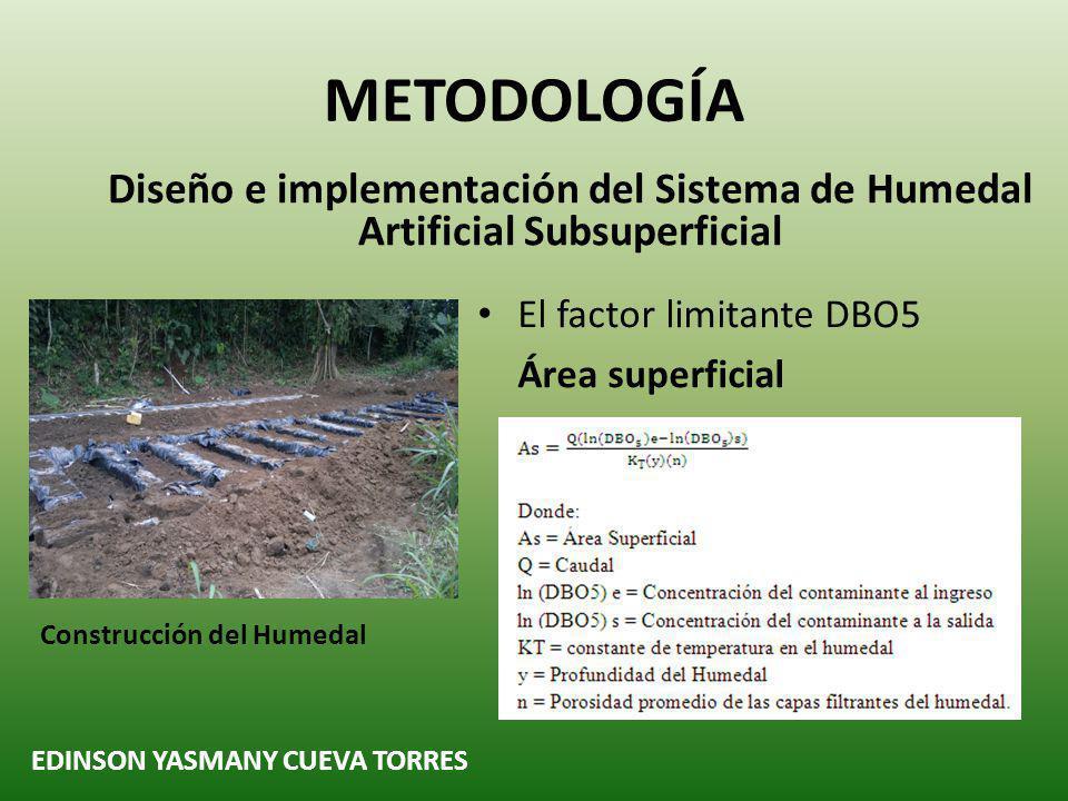 METODOLOGÍA Diseño e implementación del Sistema de Humedal Artificial Subsuperficial EDINSON YASMANY CUEVA TORRES Construcción de piscinas y Cajetines Tiempo de retención Hidráulica