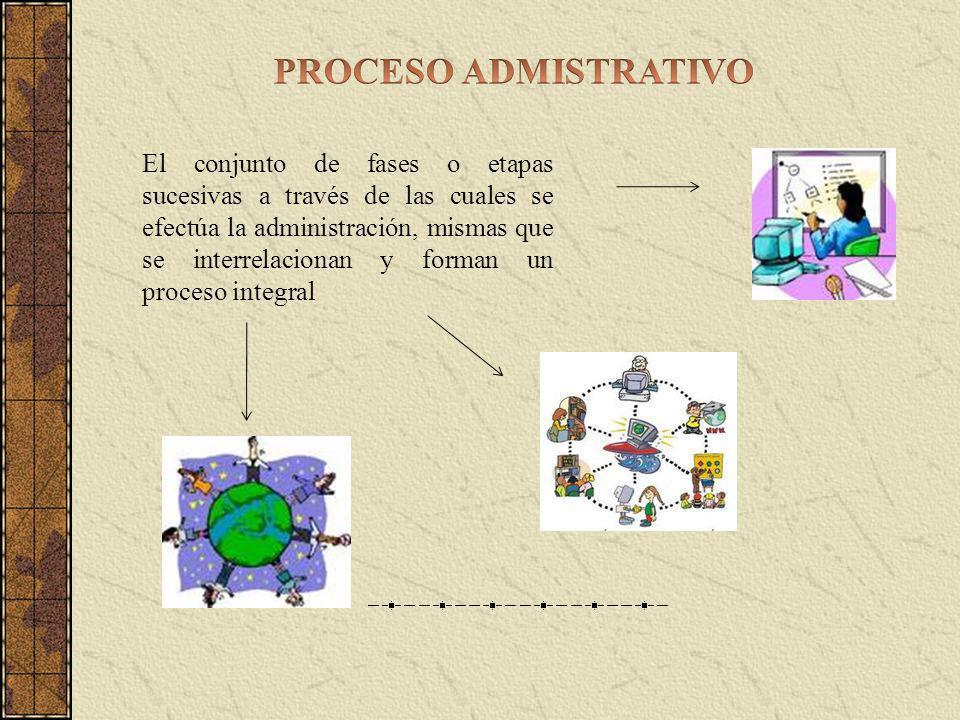 El conjunto de fases o etapas sucesivas a través de las cuales se efectúa la administración, mismas que se interrelacionan y forman un proceso integral