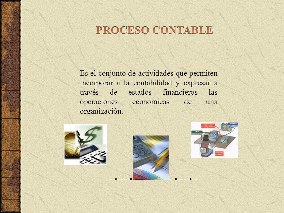 Es el conjunto de actividades que permiten incorporar a la contabilidad y expresar a través de estados financieros las operaciones económicas de una organización.