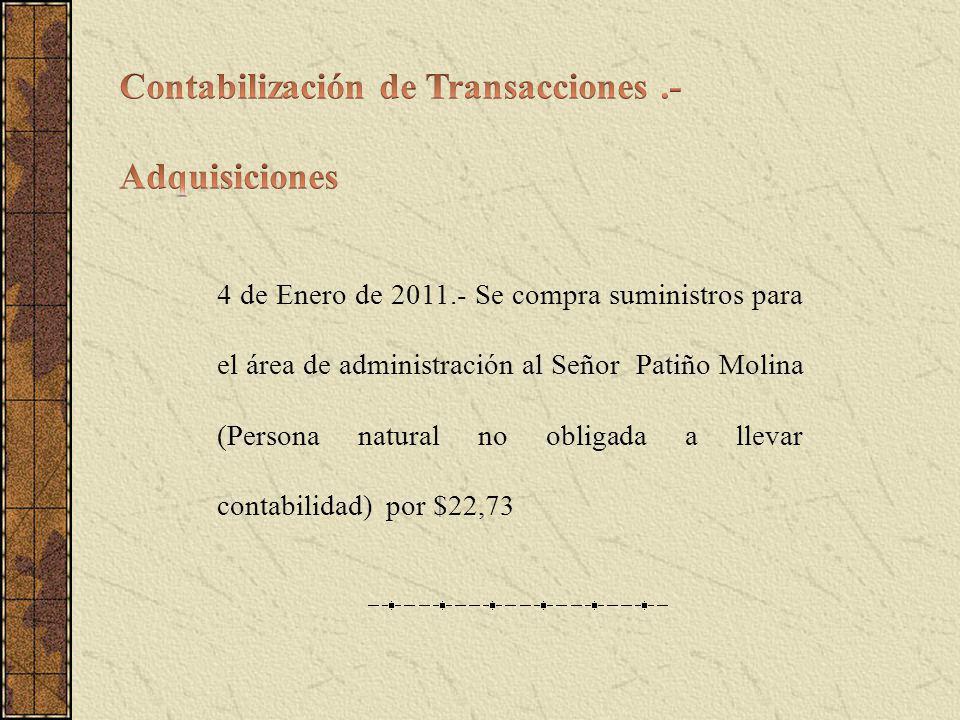 4 de Enero de 2011.- Se compra suministros para el área de administración al Señor Patiño Molina (Persona natural no obligada a llevar contabilidad) por $22,73