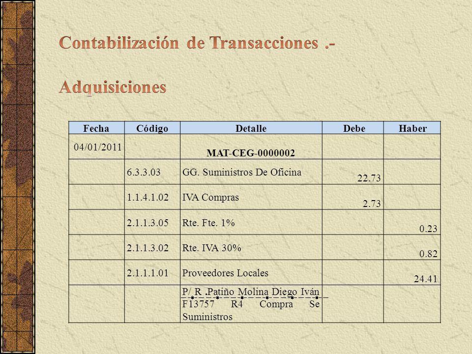 FechaCódigoDetalle Debe Haber 04/01/2011 MAT-CEG-0000002 6.3.3.03GG. Suministros De Oficina 22.73 1.1.4.1.02IVA Compras 2.73 2.1.1.3.05Rte. Fte. 1% 0.