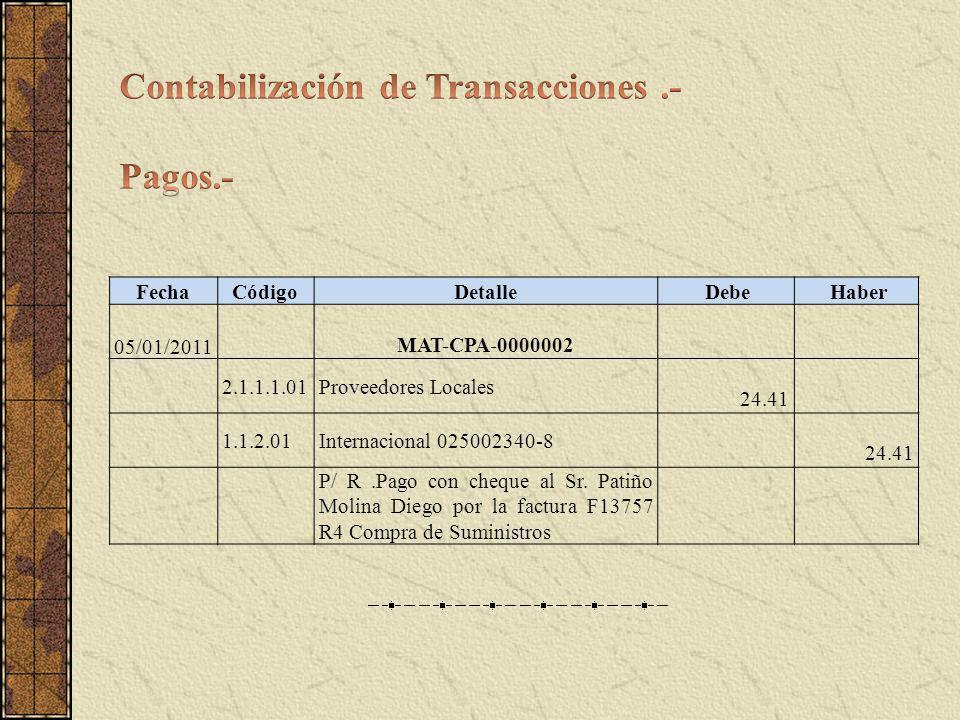 FechaCódigo Detalle Debe Haber 05/01/2011 MAT-CPA-0000002 2.1.1.1.01Proveedores Locales 24.41 1.1.2.01Internacional 025002340-8 24.41 P/ R.Pago con cheque al Sr.