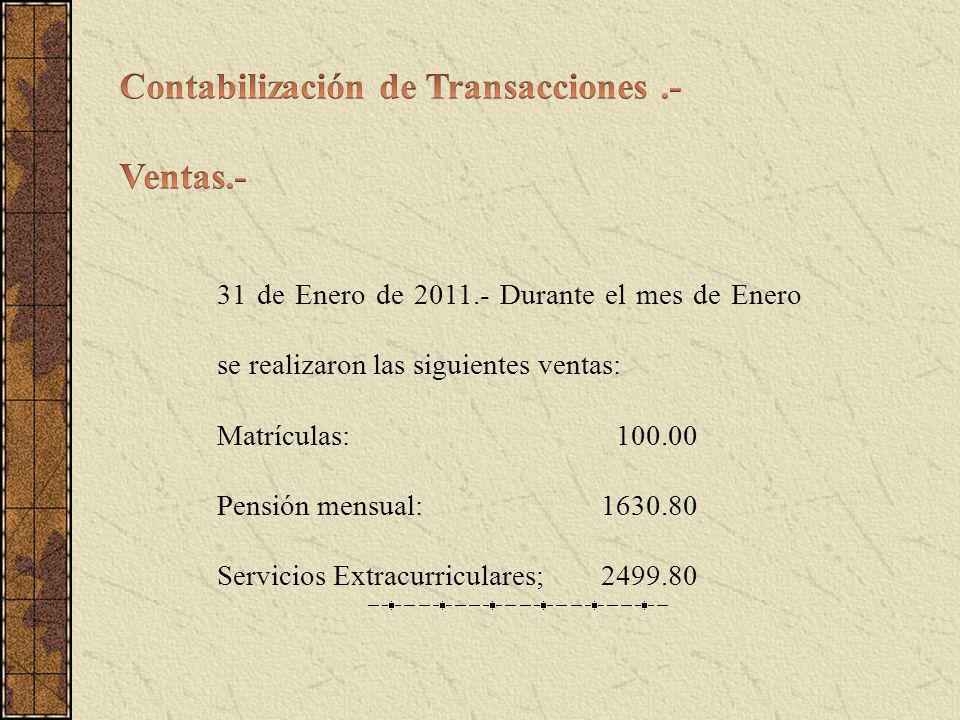 31 de Enero de 2011.- Durante el mes de Enero se realizaron las siguientes ventas: Matrículas: 100.00 Pensión mensual:1630.80 Servicios Extracurriculares; 2499.80