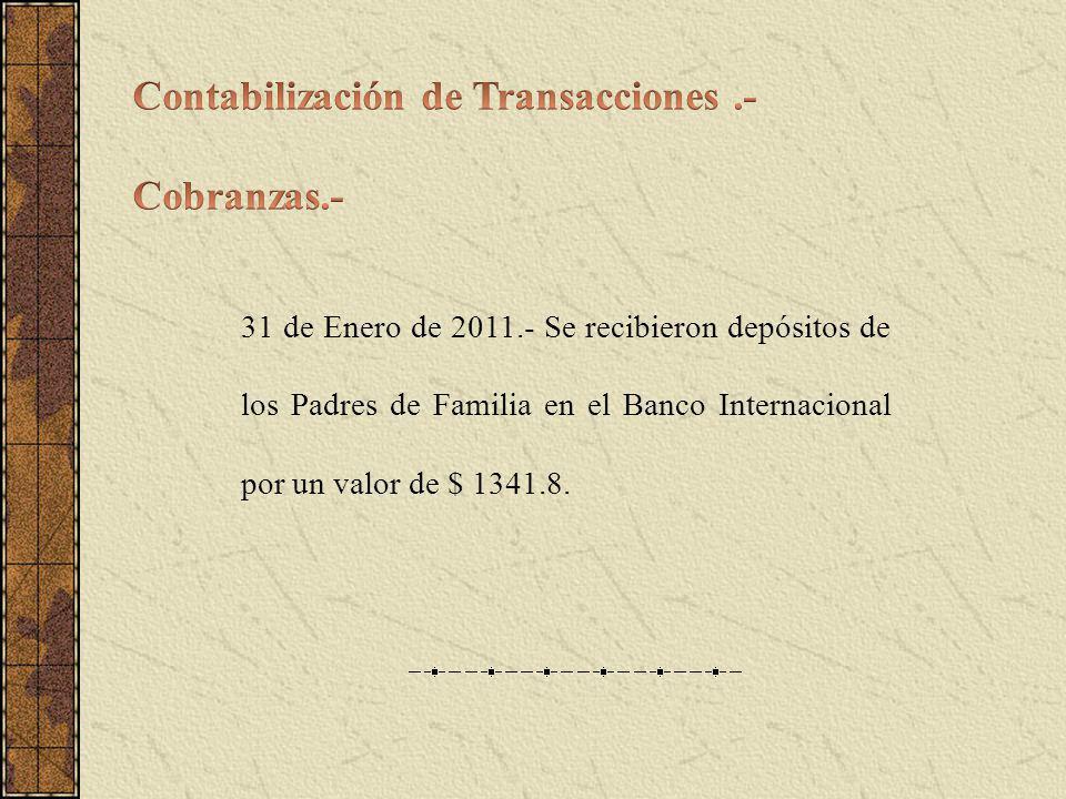 31 de Enero de 2011.- Se recibieron depósitos de los Padres de Familia en el Banco Internacional por un valor de $ 1341.8.