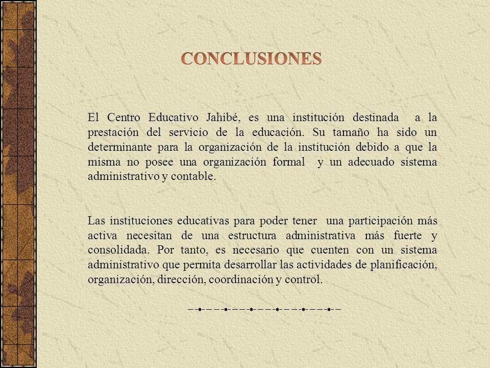 El Centro Educativo Jahibé, es una institución destinada a la prestación del servicio de la educación. Su tamaño ha sido un determinante para la organ