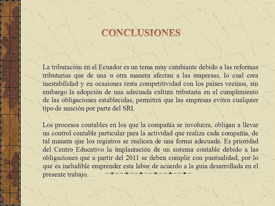 La tributación en el Ecuador es un tema muy cambiante debido a las reformas tributarias que de una u otra manera afectan a las empresas, lo cual crea inestabilidad y en ocasiones resta competitividad con los países vecinos, sin embargo la adopción de una adecuada cultura tributaria en el cumplimiento de las obligaciones establecidas, permitirá que las empresas eviten cualquier tipo de sanción por parte del SRI.