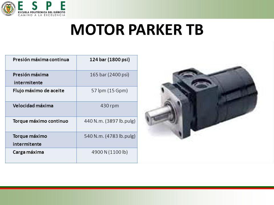 MOTOR PARKER TB Presión máxima continua124 bar (1800 psi) Presión máxima intermitente 165 bar (2400 psi) Flujo máximo de aceite57 lpm (15 Gpm) Velocidad máxima430 rpm Torque máximo continuo440 N.m.