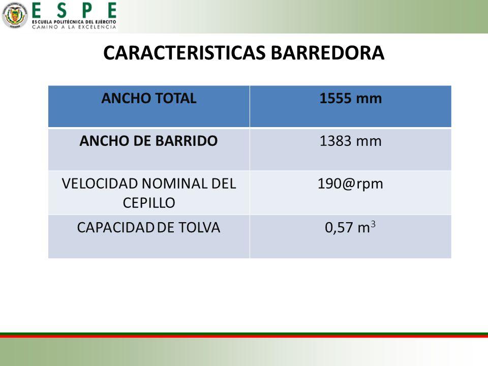 CARACTERISTICAS BARREDORA ANCHO TOTAL1555 mm ANCHO DE BARRIDO1383 mm VELOCIDAD NOMINAL DEL CEPILLO 190@rpm CAPACIDAD DE TOLVA0,57 m 3