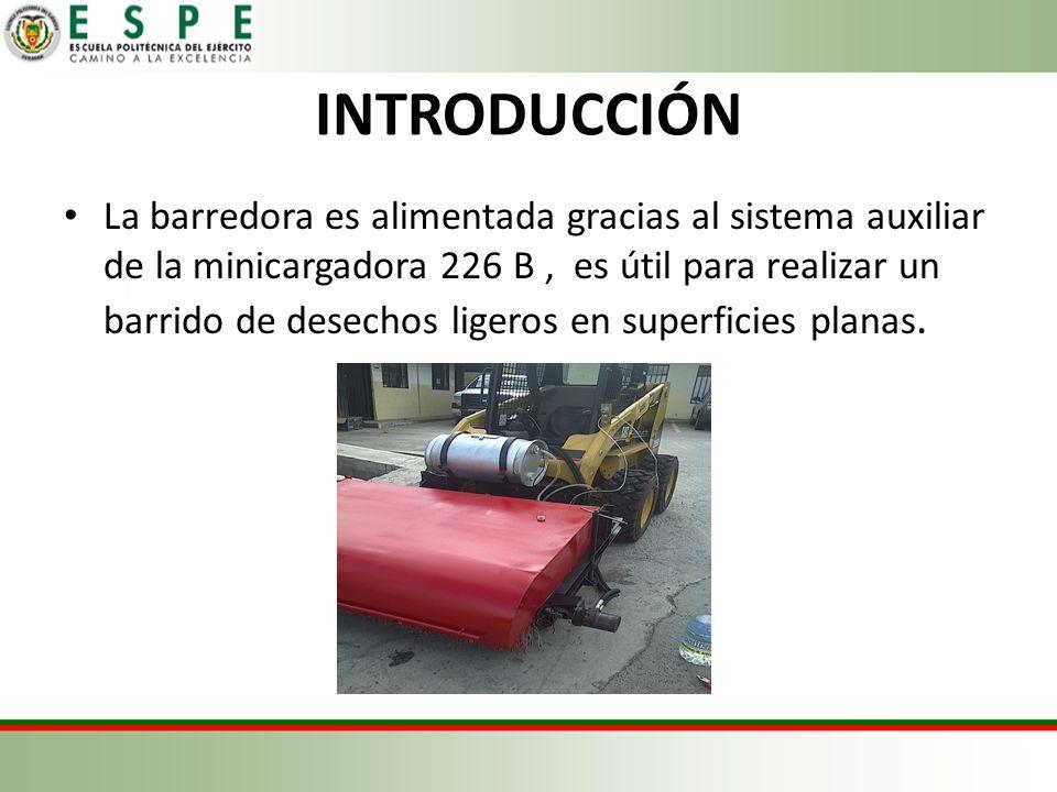 INTRODUCCIÓN La barredora es alimentada gracias al sistema auxiliar de la minicargadora 226 B, es útil para realizar un barrido de desechos ligeros en superficies planas.