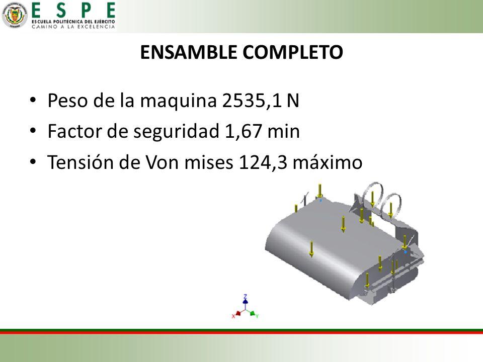 ENSAMBLE COMPLETO Peso de la maquina 2535,1 N Factor de seguridad 1,67 min Tensión de Von mises 124,3 máximo