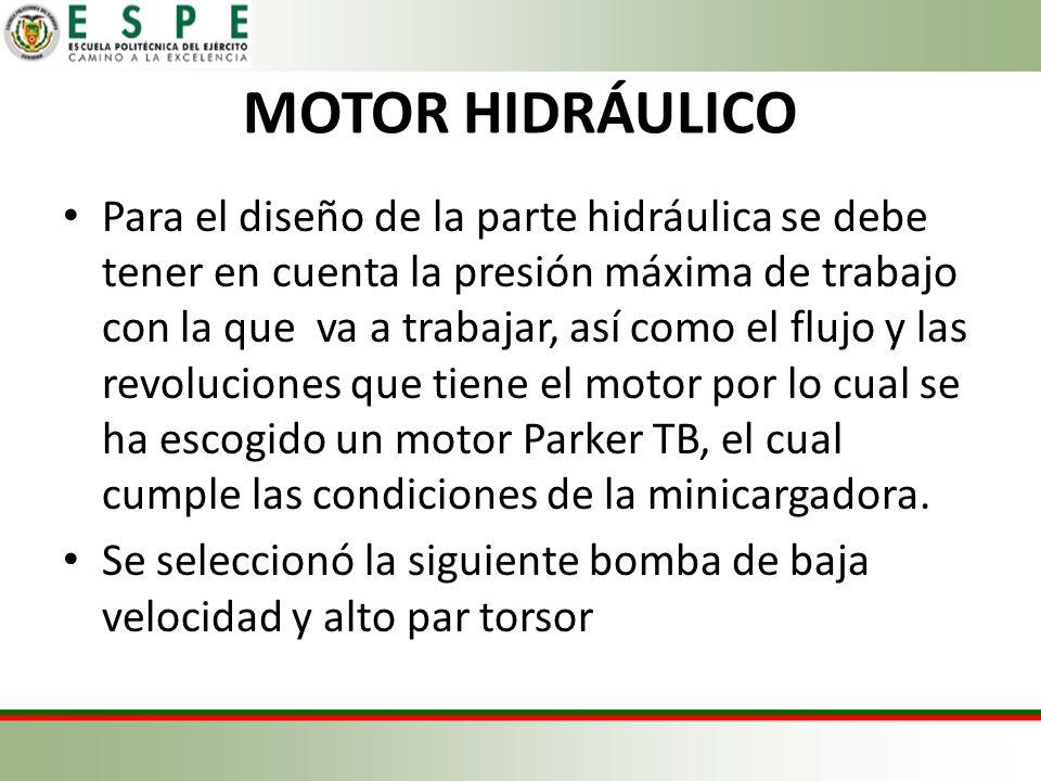 MOTOR HIDRÁULICO Para el diseño de la parte hidráulica se debe tener en cuenta la presión máxima de trabajo con la que va a trabajar, así como el flujo y las revoluciones que tiene el motor por lo cual se ha escogido un motor Parker TB, el cual cumple las condiciones de la minicargadora.