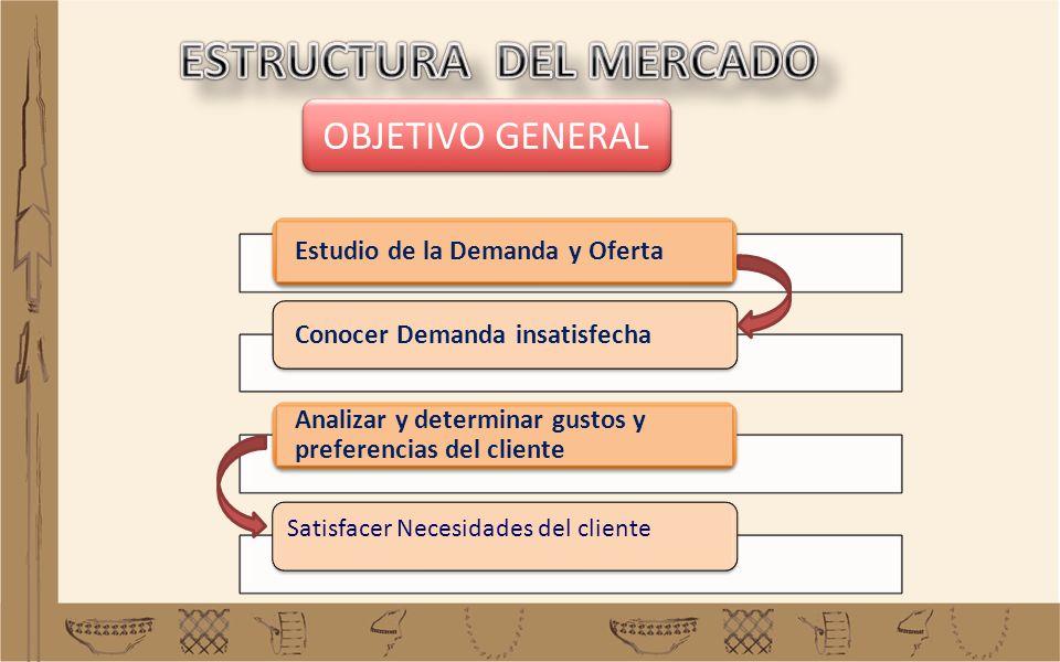 Estudio de la Demanda y Oferta Conocer Demanda insatisfecha Analizar y determinar gustos y preferencias del cliente Satisfacer Necesidades del cliente
