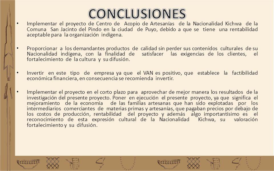 Implementar el proyecto de Centro de Acopio de Artesanías de la Nacionalidad Kichwa de la Comuna San Jacinto del Pindo en la ciudad de Puyo, debido a
